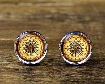 Compass cufflinks, compass jewelry, compass accessories