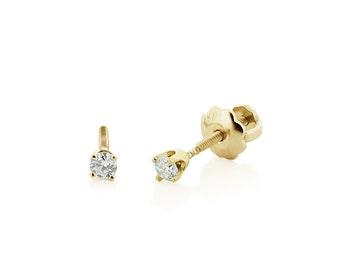 Baby Diamond Stud Earrings, 14K Yellow Gold Genuine White Diamond Stud Earrings for Babies or Kids - Screw Back Settings - Gift for Girls