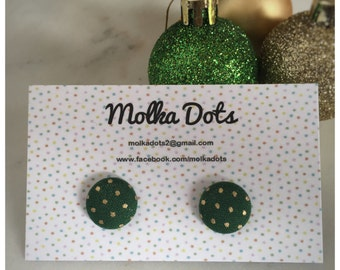 Green and Gold Earrings. Green Christmas Earrings. Dot Earrings. Handmade Earrings. Fabric Button Earrings. Stud Earrings. Clip On Earrings.