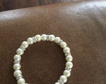 Pearl and diamante bracelet