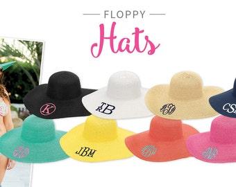 Monogrammed Floppy Hat, Monogram Beach Hat, Floppy Hat, Beach Hat, Sun Hat, Personalized Floppy Hat, Monogram Sun Hat, Wide Brim Hat