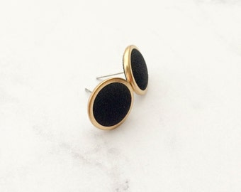 Fabrïc earrings  /// Ear Studs black cloth, stainless steel rod
