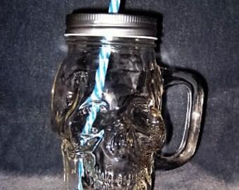 Skull Sipping Jar - Clear Glass w/Handle, Lid, & Straw