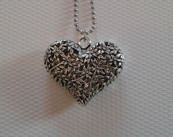 Silver tone heart long pendant necklace, silver heart, silver tone chain, gift for her, antropologie necklace