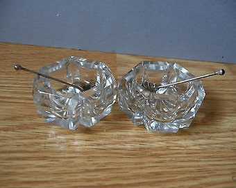 Antique Victorian 2 Cut Glass Open Salts with a pair of Silver Shell Bowl Spoons