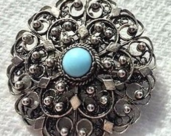 Vintage 925 Silver Filigree Brooch/Pendant Cabouchon Set Pale Blue Stone