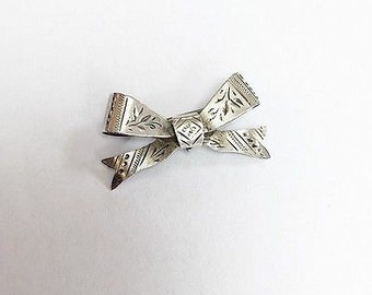 Antique Victorian Silver Bow Pin Brooch