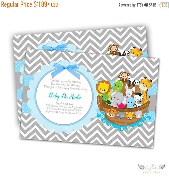 ON SALE Noah's Ark, Chevron, Animals Baby Shower Invitations & Blank Digital Thank You Card to match