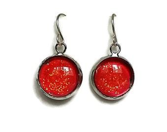 Coral Earrings, Nail Polish Earrings, Glitter Earrings, Sparkly Earrings, Nailpolish Earrings, Coral Glitter, Boho Earrings, Orange, Pink