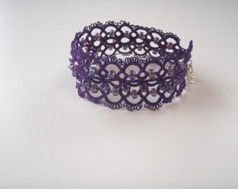 Tatted Purple Cuff Lace Bracelet