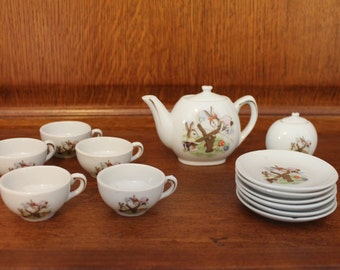 Children's (Miniature) Tea Set - Brown Bunny Rabbits on Seesaw