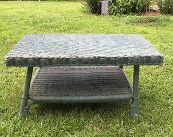Vintage Wicker Coffee Table, Green Chippy Paint, Real Wicker, Wicker Wood,