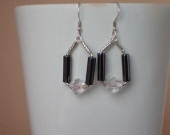 Hematite Swarovski Crystal Beaded Dangle Earrings