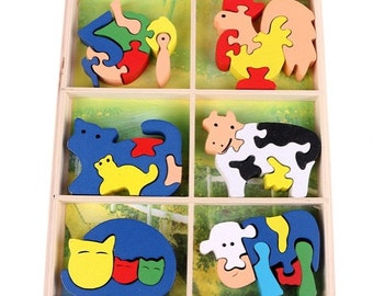 6-in-1 Wooden Animal Puzzle