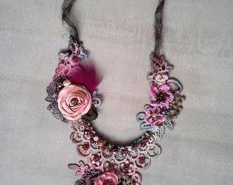 shabby shic  braided necklace from antique handmade lace trims Bohemain stile necklace romantic shabby shik