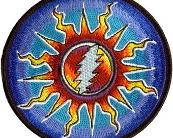 Grateful Dead Patch -Sunshine Bolt Patch. 100% Embroidered Patch/ Psychedelic/ 13 point Lightning Bolt/