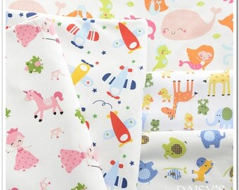 Soft Safe 100% Cotton Animal Knitted Jersey Fabric for BABY INFANT Underwear Intimates Clothes Bedding