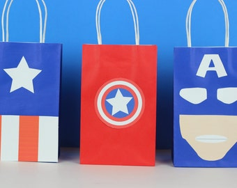 Captain America Favor Bag Instant Download
