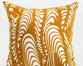 "Luxury Yellow Warp Chevron Embroidered Pillow Cover 20""X20"""