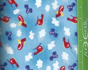 Sky car,helicopter,airplane,on blue Flannel