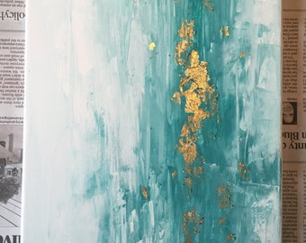 Turquoise and Robins Egg Blue Abstract Painting | Gold leaf | Acrylic Painting
