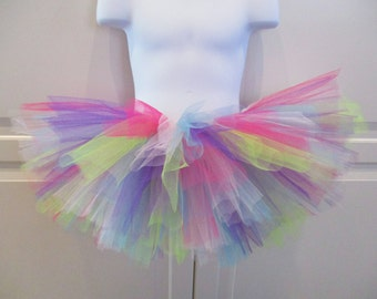 Vibrant Colorful Tutu with Lime, Purple and Hot Pink - Other Colors Available