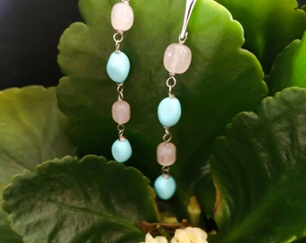 silver earrings 925 rhodium with turquoise and rose quartz