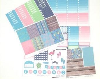 Tropical Fun Weekly Kit / Planner Stickers / Erin Condren Planner Stickers / Vertical