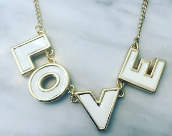 LOVE Gold & White Necklace