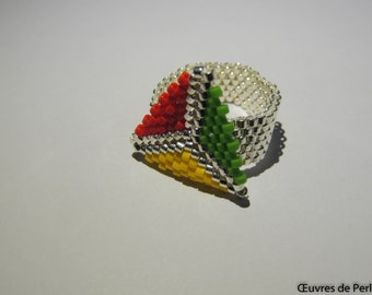 Bague rasta triangulaire chic en perle Miyuki peyote, argenté, rouge, jaune, vert