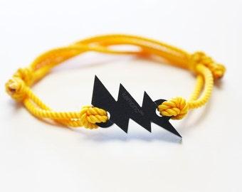 Kemono yellow lightning bolt bracelet-black edition