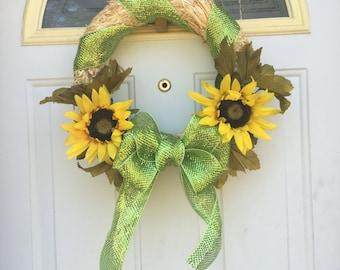 Sunflower straw wreath