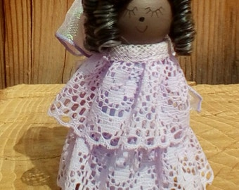 African American Angel Peg Doll,Christmas Angel, Guardian Angel, Gift item