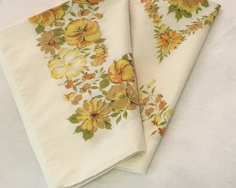 Vintage Pillowcase...White Background with Lovely Greens & Yellows / Mid-Century / Repurpose / Reuse