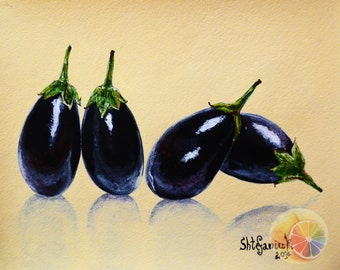 Eggplant Painting 8 X10 Acrylic On Watercolor Paper Original Hand Painted