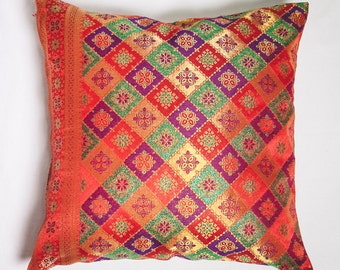Bright Combination Red Songket Cushion Cover, Decorative Pillow Cover