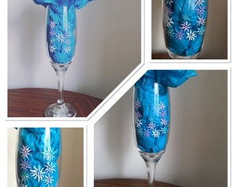Hand painted intitials champagne flute