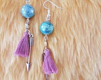 Earrings//purple with blue
