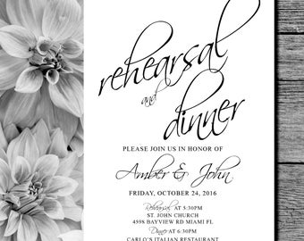 Rehearsal Dinner Invites, black and white, formal rehearsal invitations,  modern, elegant, printable wedding invites, rehearsal invites