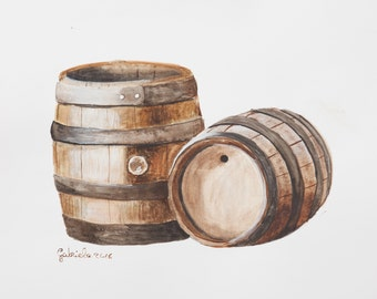 Watercolor print by me made, wine barrels