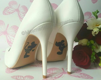 Disney Wedding Shoe Decal / Mickey and Minnie Mouse / Happily Ever After / Love / Marriage