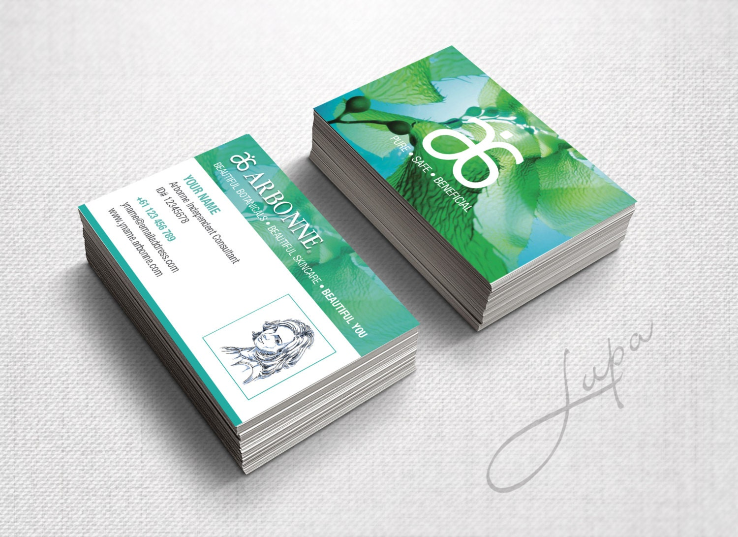 Arbonne Business Cards 14 digital files supplied only