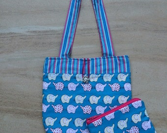 Baby elephants handbag and purse