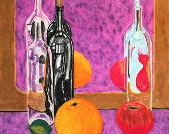 3 Wine Bottles, Fruit, Mirror 2-29-16