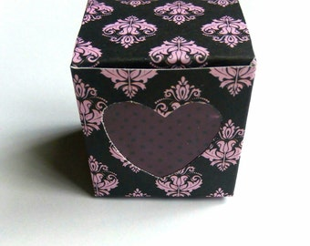 6 giftboxes 'barok' with window in heart shape