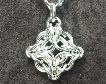 Byzantine Labyrinth Chainmail Pendant - Sterling Silver