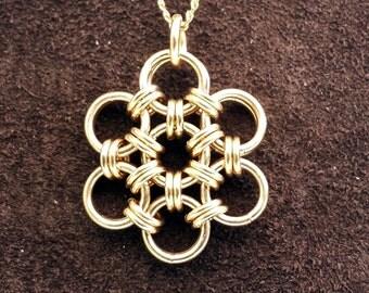 Hana Gusari Snowflake Chainmail Pendant - 14kt Gold Fill