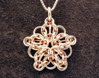 """Tiny Celtic Star Chainmail Pendant - 14kt Rose Gold Fill with 18"""" Chain"""