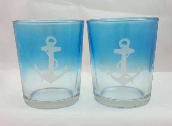 Nautical Theme Anchor Etched Blue Ombre Glass Votive Candle