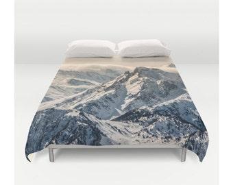 Duvet Cover, Mountain Mist Fog Nature Clouds Wanderlust, Bedding Cover, Bohemian Decor, Nature Bedroom Decor, Home Decor, King, Queen, Full